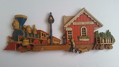 Dart Ind Vintage 1976 Train and Station Wall Hanging Decor