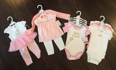 11pc Lot 6-9 Month Baby Girl Clothes Carters & Baby Kiss Never Worn!