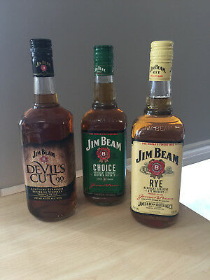 Jim Beam x3 Bottle's Choice-Devil's Cut-Rye all in 700ml (Discontinued) new