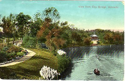 Antique Valentine Postcard, View from City Bridge, Adelaide, SA circa 1900's