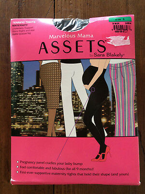 MARVELOUS MAMA ASSETS by Sara Blakely Terrific Tights Size 3 BLACK NEW Maternity