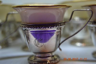 Sterling Silver Demitasse Lenox Porcelain Cups Set Of 12 Monogrammed C