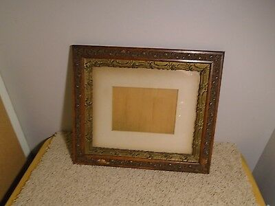 Antique Primitive Ornate Wood Gesso? Carved Picture Frame with Glass and Mat