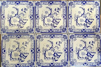 6 Briar rose blue on white wall tiles,heritage,kitchen,mosaic tiles