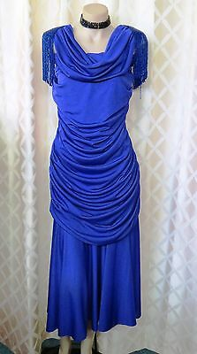 Inspired 20's From The 70's Colbolt  Blue Dress With Beaded Shoulders..