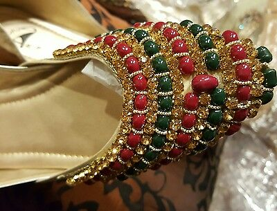 Pakistani Punjabi juti Kundan jewel Beads Flats sandals Shoe PK size 8*free ship