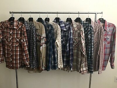 Vintage 1970's - 80's Lot Of 10 Plaid Western Shirts