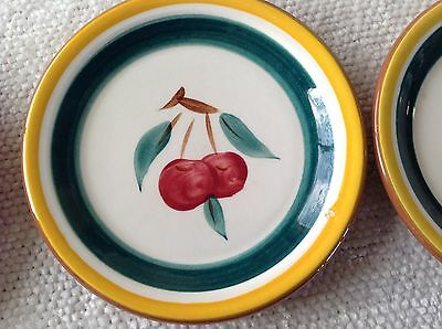 3 Vtg Stangl Art Pottery Cherries Hand Painted Small Plates Yellow & Green 5""