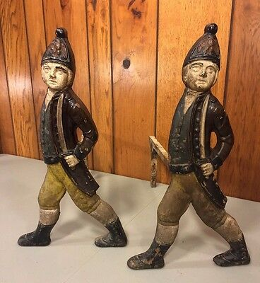 Antique Pair of Hessian Soldier Fireplace Andirons by M Bibi