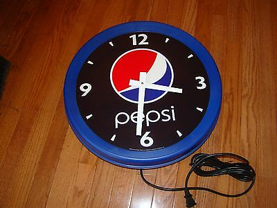 "Large 18"" PEPSI-COLA WALL CLOCK BAR SIGN-USED-MAN CAVE"