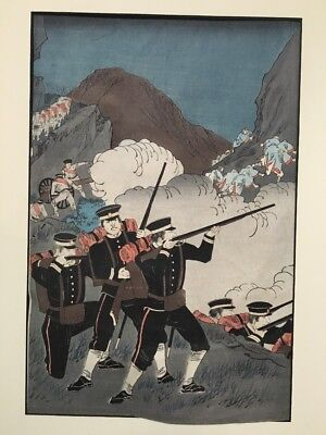 antique Japanese Woodblock Print Russia Japan War Guns