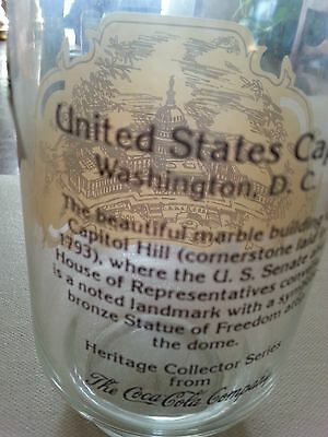 Vintage Coca Cola Heritage Collector series Glass United States Capital