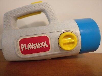 Classic Playskool 1986 Grey Flashlight w/ Red & Green Filters Tested Working