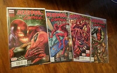 DEADPOOL vs CARNAGE #1 2 3 4 ALL FIRST PRINTS MARVEL COMIC LOT SET VENOM
