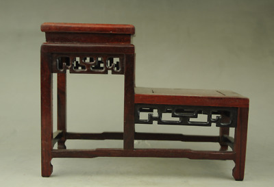 red suan-zhi wood rosewood chinese high-low style stand display shelf