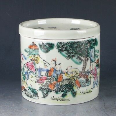 Chinese Porcelain Hand-painted Kids Pot W Qing Dynasty Tongzhi Mark PJ948