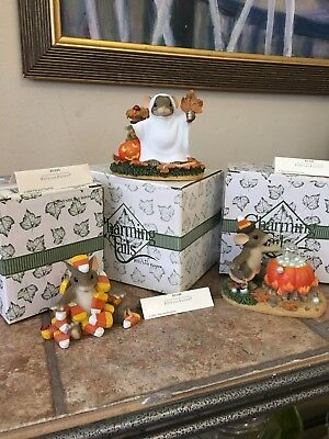 Charming Tails By Fitz And Floyd Lot Of Three Halloween Figurines