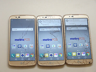 Lot of 3 LG K10 MS428 Metro PCS Gold Smartphones All Power On Good LCD AS-IS GSM