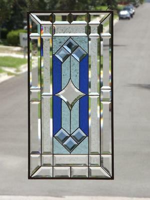 """• Midnight Hour  •Beveled Stained Glass Window Panel≈28 1/2""""x14 1/2"""" (73x37cm)"""