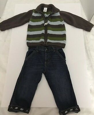 Gymboree Little Milk Man Jeans And Sweater 18-24 Months