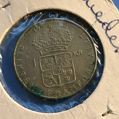 1968 Sweden 1 Kroner Silver World foreign coin great condition