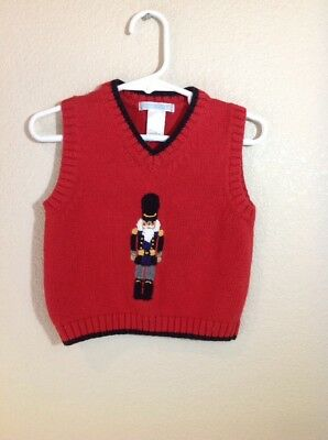 Janie and Jack boys red nutcracker sweater vest 100% cotton Size 12-18 Months