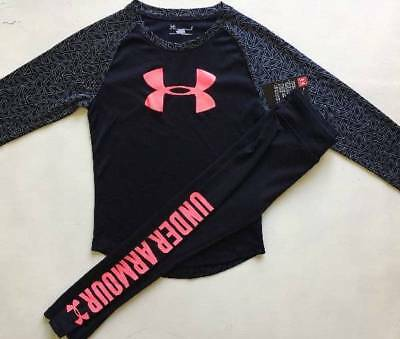 Girl's Size 5/6 Under Armour Black Shirt & Leggings Outfit Nwt