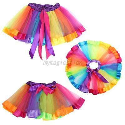 US Cute Baby Girl Rainbow Color TUTU Skirt Toddler Elastic Waist Dress Dancewear