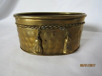 HOSLEY International Oval Solid Brass Planter * India * Hammered * Rope Tassels