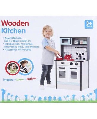 Kids Wooden KITCHEN Childrens Pretend Play Set Toddlers Toy Cooking Playset