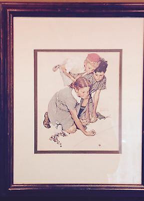 "Norman Rockwell ""Knuckles Down 1972"" Picture Print Custom Framed And Matted"