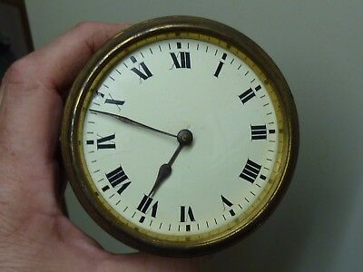 Antique - Old French Drum Clock Timepiece Movement & Dial- Spares Or Repair