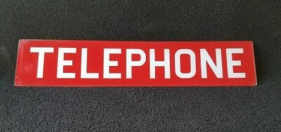 1960's Vintage Glass Red Telephone Booth Sign Phone Booth Glass Insert