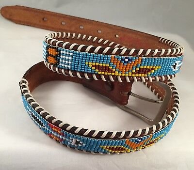 Vintage Handbeaded and Stiched Seed Bead Leather Belt Thunderbird sz 34