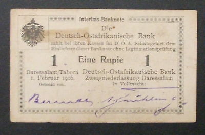 German East Africa Rupee, 1916 Tabora Issue, P26, U3 w/X's and w/o new Serial #