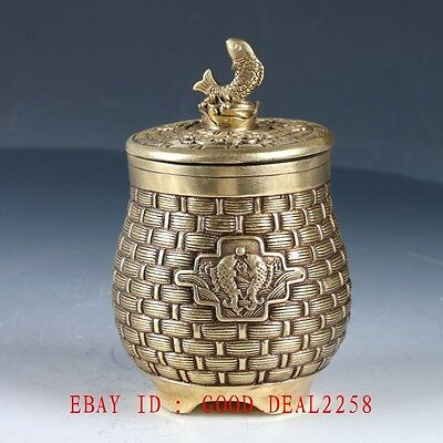 Old Chinese Brass Hand Made Carved Creel Pot With Qing Dynasty Mark HT132
