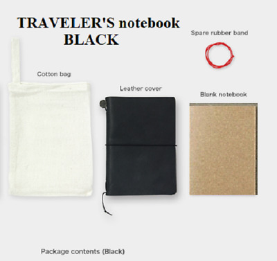 Authentic Travelers Notebook [Midori] Black Leather Used Excellent Passport Size