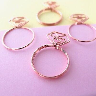 Paper Clips Rose Gold Diamond Ring Planner Accessories Paperclip Set of 4