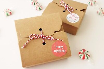 10x Christmas Cookie Gift Boxes Merry XMAS Sweets Truffles Candy Macaron Box