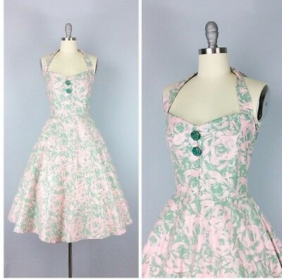 1970s does the 1950s Green and Pink Floral Halter Dress