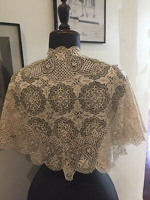 Genuine Antique Irish Lace Linen Edwardian Ladies Collar Shawl