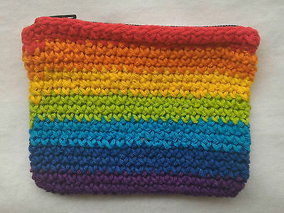 RAINBOW COIN PURSE HAND MADE IN BALI 10cm x 8cm