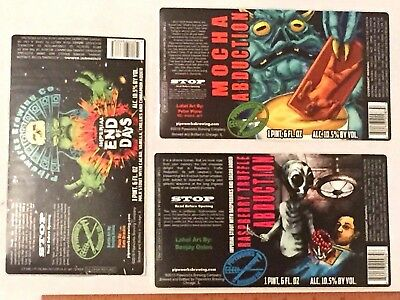 5 MICRO CRAFT BEER LABELS Lot HUGE Sticker Pipeworks Chicago IL Beta End Alien