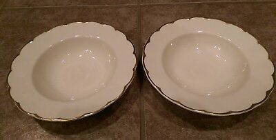 "GRINDLEY England IMPERIAL Cream Petal 8"" Rim Soup Bowls (2) Gold Scalloped Trim"