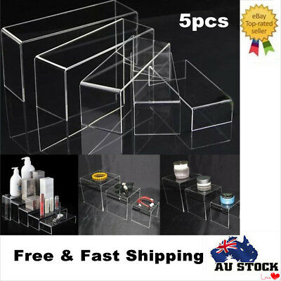 5pc Clear Acrylic Perspex Jewellery Display Rack Holder Riser Set Stand Showcase