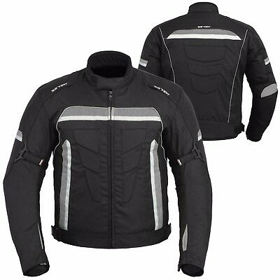 Mens Motorcycle Motorbike Waterproof Textile Black CE Armoured Jacket Coat Sport