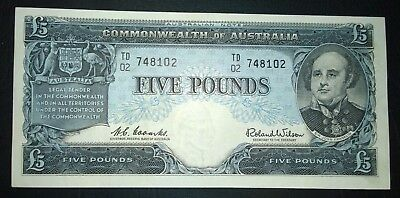 1960 Australia Coombs/Wilson £5 five pounds banknote - aEF