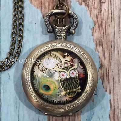 New Antique Brass Steampunk Style Owl Watch Pendant Necklace Peacock Feather