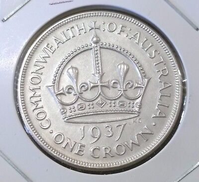 1937 Australia UNCIRCULATED sterling silver Crown - UNC