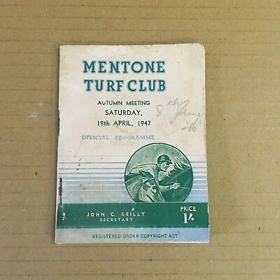 Scarce 1947 Mentone Turf Club Autumn Meeting At Caulfield Race Book